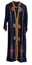 Boho Hippie Straight Collar Neck Kurti Dress Robe Kaftan Navy Blue Gold Brocade