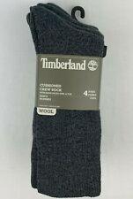 4 Pair Timberland Cushioned Crew Socks Wool Blend Reinforced Heel & Toe Charcoal