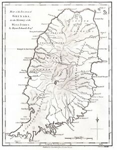 MAP OF THE ISLAND OF GRENADA Antique 1794