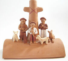 Clay Pottery Shepherd Scene Vintage HndCrafted South American Religious Figurine