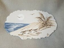 Seashell Beach Sand Tile Plaque Hand Painted Sea Life Carved Seagull Signed