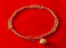 """Charm Bracelet 18k Solid Yellow Gold Stamped 750 7.5"""" 4.3g Rope Flat Link Chain"""