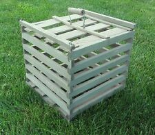 "Antique WOODEN EGG CRATE Vtg Primitive Farm Wood CARRIER BALE HANDLE 13"" x 13"""