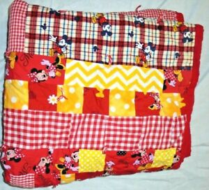Handmade Disney Minnie Mouse Babies Baby Crib Blanket Throw Quilt red