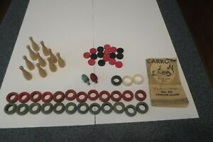 Vintage Wood Carrom Pieces Rings Coins Spinners Ten Pins 1946 Rules Book #85