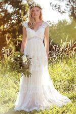 New Long Bohemian Elegant A Line Lace Wedding Bridal Gown Dress Custom Size
