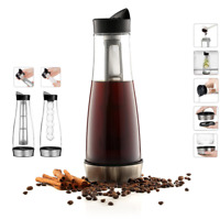 3 in 1 Cold Brew Ice Coffee Maker 41oz Glass Pitcher Drink Chiller 5-cups 1.3L