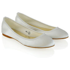 New Womens Bridal Shoes Satin Flower Girl Ladies Wedding Prom Pumps Size 3-9