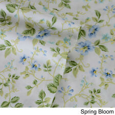 Laura Ashley Cotton Sheet Set  QUEEN Size SPRING BLOOM Pattern 300 Thread Count