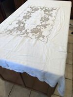 """Vintage Embroidered Rose Cross Stitch On White Rectangular Table Cloth 56"""" x 73"""""""