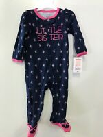 """Just One You By Carters Girls 9M """" Little Sister"""" One Piece Footed Pajamas (f)"""