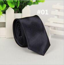 Casual Solid Plain Classic Skinny  New Silk like Woven Slim Necktie Men's Tie