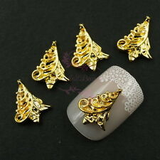 100pcs 3D Alloy Charms Hollow Out Xmas Tree Nail Art Manicure Gold Plated Metal