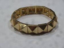 Gold Tone Pyramid Stud Metal Punk Stretch Bracelet