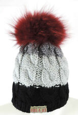 Bogner Fire + Ice Mütze L Damen Strick schwarz weiß grau Pelzbommel wie neu