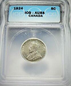 1924 Canada 5 Cent ICG AU55 Condition   (124)
