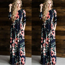 New Women Floral Print Long Sleeve Boho Dress Lady Evening Party Long Maxi Dress