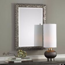 """NEW MODERN 35"""" EMBOSSED LEAF BEVELED WALL VANITY MIRROR AGED BURNISHED SILVER"""