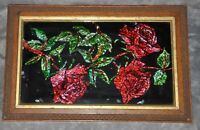 "Foil On Glass ""Roses"" 1955 Signed By Artist Florence? Born 1885 Framed 10"" x 15"""
