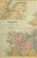 1891 ANTIQUE MAP IRELAND NORTH WEST MAYO BELFAST ENVIRONS