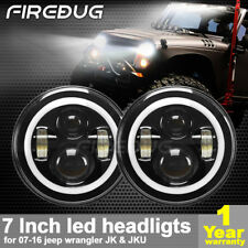 "Firebug Jeep Wrangler 7"" LED Halo Angel Eyes Headlight, Jeep LED Headlight"