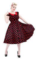 Stylish 40's 50's Retro Vintage Polka Dot Red Collar Flared Swing Dress New 8-18