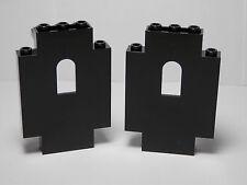 LEGO Set of  2 Castle Wall Panels 2X5X6 Arched Window Black Castle 2005 8-14
