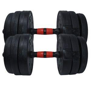 Dumbbell Set Adjustable Dumbbells Weights 44lb 20kg Weight Pair Home Gym Black