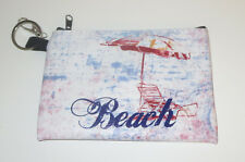 Beach Coin Purse Pouch Lounge Chair Umbrella Key Ring Clip New