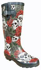 More details for womens wellingtons skull roses printed rain snow festival adjustable calf uk 3-8
