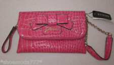 GUESS Lulin Clutch Wallet Purse Mini Bag Wristlet Organizer Croco Bow Pink New