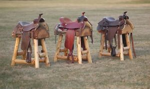 (3) Authentic Western Horse Saddle Bar Stools Barstools Decor Counter Rustic Log