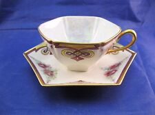 Unusual Vintage Tea Cup and Saucer - Signed Me - 6 Sided