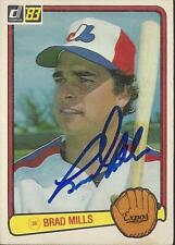 Brad Mills Montreal Expos 1983 Donruss Signed Card