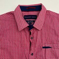 Franky Max Button Up Shirt Men's Size Large Short Sleeve Pink White Geo Print