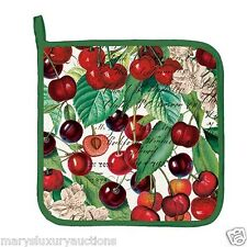 """Michel Design Works """"Black Cherry"""" Cotton 9xx9"""" Potholder with Hanging Tab  NEW"""