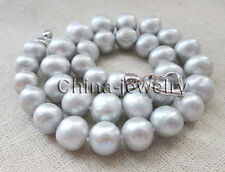 """P7555 - 18"""" 12-16mm 100% natural gray round freshwater pearl necklace - GP clasp"""