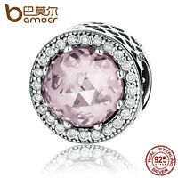 Bamoer Authentic S925 Sterling Silver Charm With Pink Stone Fitting Bracelets