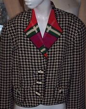 80s Vintage Houndstooth Jacket Cropped Womens Large LG Shoulder Pads Made in USA