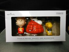 "Hallmark ""Charlie Brown, Snoopy, & Woodstock"" 2020 Set Of 3 Ornaments New"