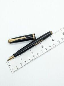 "Vtg black gf Pilot lever fountain pen - 14k f ""2"" nib - for restore"