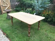 LOVELY VICTORIAN TWO PLANK SCRUB TOP TABLE - PINE LEGS - FULL OF CHARACTER