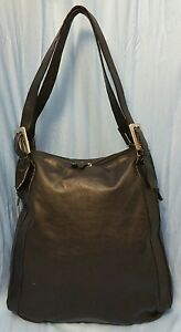 Italian Handbag Genuine Black Leather Hobo Purse Buckle Detail Shoulder Bag