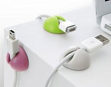 5pcs Cable Tidy Clips Organiser Desk USB CHARGER CABLES Holder Wire Drop Lead