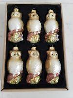NBC Trading Inc Box Of 6 Glass Glitter Owl Christmas Ornaments