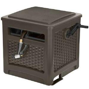 Garden Hose Reel Box Smart Trak Wicker Hideaway Weather Resistant Java Brown