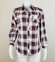 Foxcroft Women Size 10 Plaid Multicolor Button Long Sleeves Blouse Top Shirt