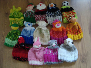 Hand Knitted Top This Character childs hat age 1-3 years approx 16 to pick from
