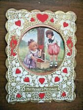 Vintage Usa Children w/ Basket of Hearts; Pull Out Honeycomb Valentine Card