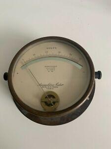 Antique Large brass Aberiodque Brevete Accumulatuer volt meter made in Paris